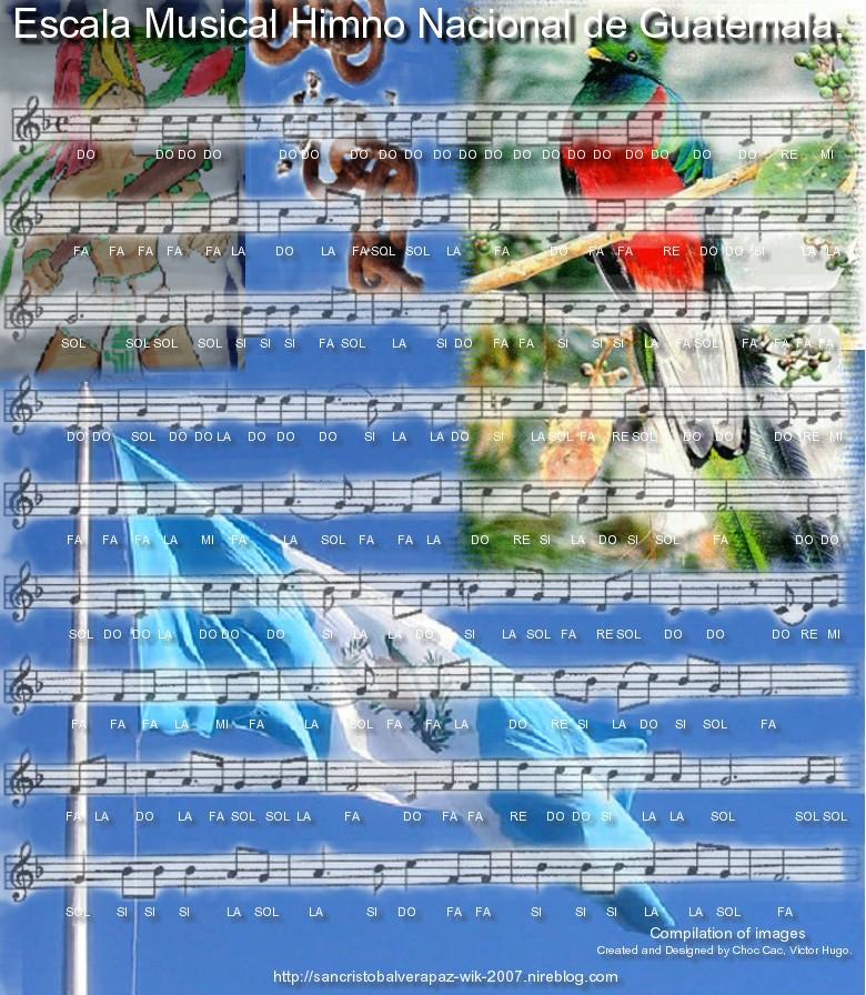 Escala musical Himno Nacional de Guatemla y Partitura