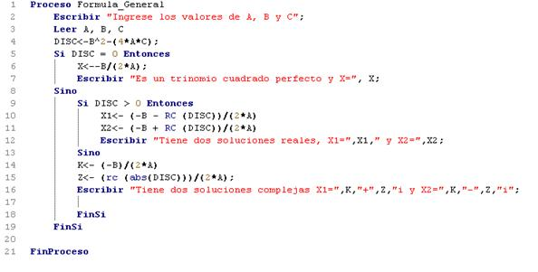 Formula General Ecuacion cuadratica pseudocodigo PSeInt | Mundo Choc Cac