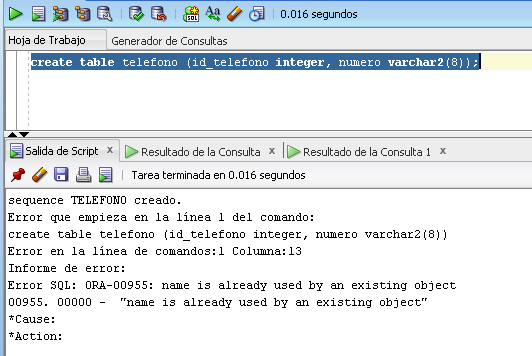 crear tabla ejemplo ora-00955
