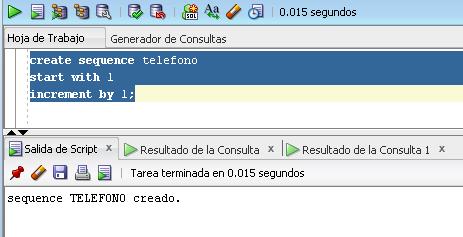 sequence ejemplo ora-00955