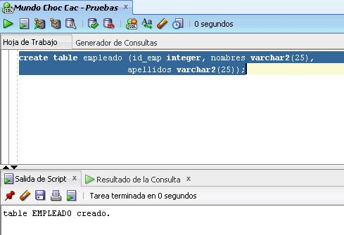 create tabla empleado