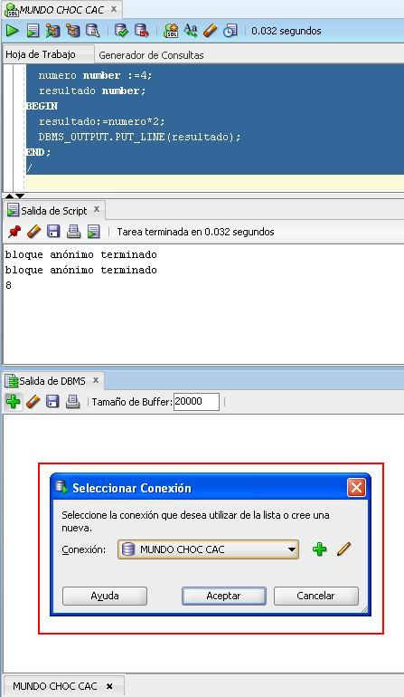 SQL Devoloper conexion DBMS_OUTPUT