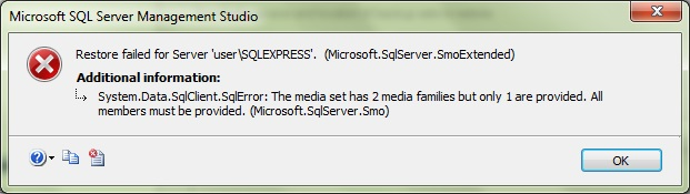 Restore failed for server Microsoft.SqlServer.SmoExtended
